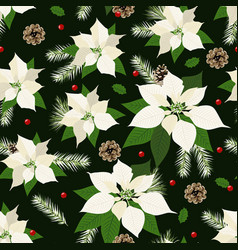Christmas seamless pattern with poinsettia plant vector