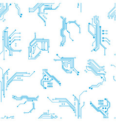 circuit board elements seamless pattern background vector image