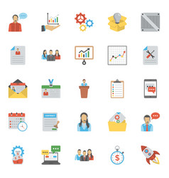 Collection of project management coloured flat ico vector