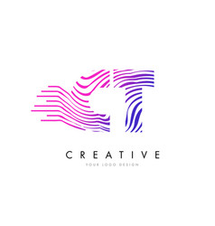 Ct c t zebra lines letter logo design with vector