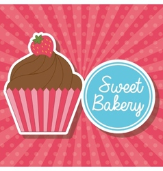 Cupcake label vector