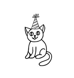 Cute cat sitting sketch hand drawn in doodle vector