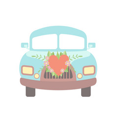cute vintage car decorated with flowers and heart vector image