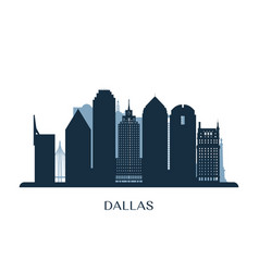 Dallas skyline monochrome silhouette vector