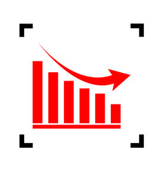 Declining graph sign red icon inside vector