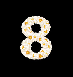 Digit 8 made up airy popcorn vector