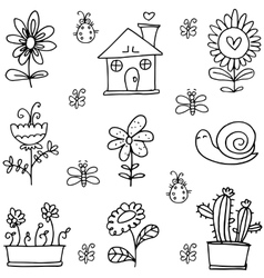 Doodle of spring with house flower vector image