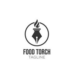 Elegant luxury torch flame logo design vector