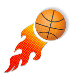 explosive fire basketball icon vector image