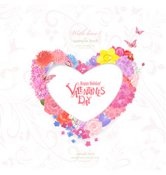 floral wreath of heart shape of different spring vector image vector image
