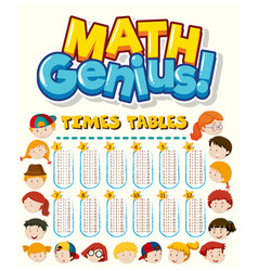 Font design for word math genius with times vector
