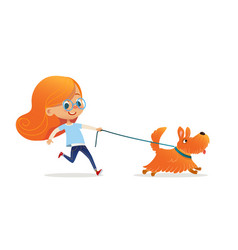 funny little girl with red hair and glasses vector image