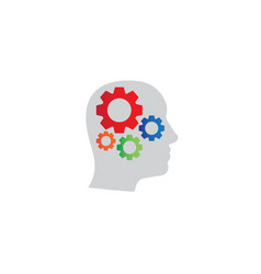 gears inside head logo design icon vector image