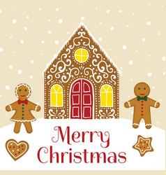 Gingerbread house card vector