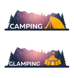 Glamping glamor camping campfire pine forest vector