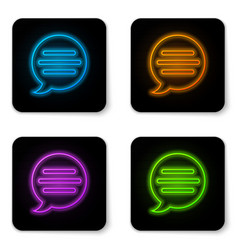 glowing neon speech bubble chat icon isolated on vector image