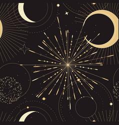 gold magic talisman pattern with sun moon stars vector image