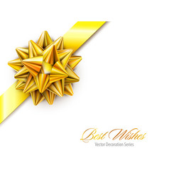 gold realistic bow with ribbons isolated vector image