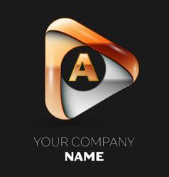 Golden letter a logo in golden-silver triangle vector