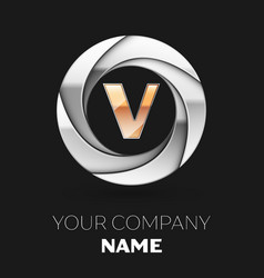 golden letter v logo symbol in the circle shape vector image