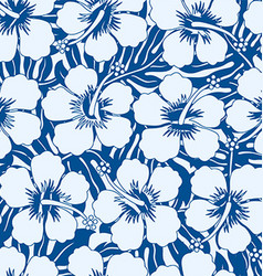 Graphic navy and white tropical flowers seamless vector