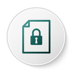 Green document and lock icon isolated on white vector
