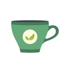 Green tea cup flat icon vector image