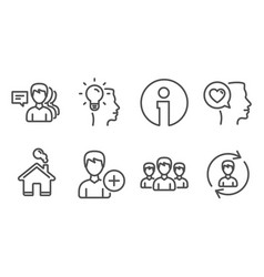 group add person and idea icons romantic talk vector image