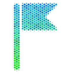 halftone blue-green flag icon vector image