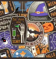halloween patches colorful seamless pattern vector image