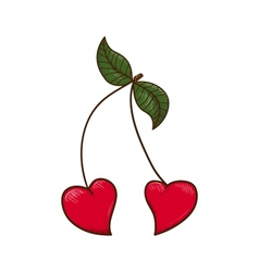 Heart shaped cherries vector