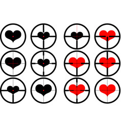 Heart targeted at heart reticule viewfinder vector