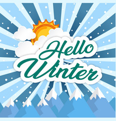 Hello winter sun green image vector