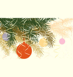 horizontal abstract of christmas spruce branch vector image