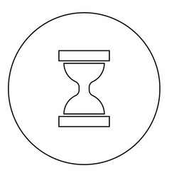 hourglass black icon in circle outline vector image