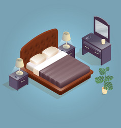 isometric cartoon double king size beds isolated vector image