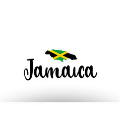 Jamaica country big text with flag inside map vector