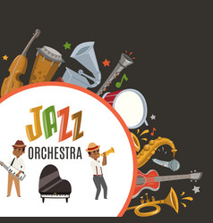 jazz orchestra or jazzband with cartoon characters vector image