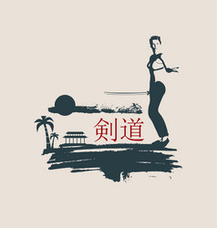 kung fu martial art silhouette of woman with sword vector image