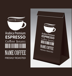 Label and paper packaging for coffee beans vector