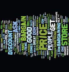 Learn to bargain text background word cloud vector