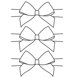 line art black and white bow set vector image
