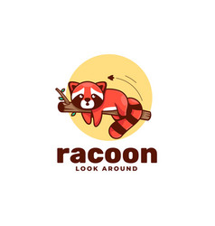 Logo ra coon simple mascot style vector