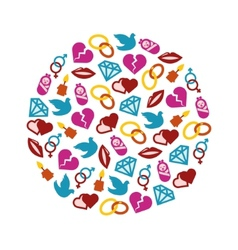 love icons in circle vector image