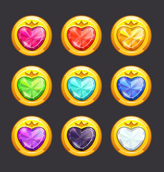 magic golden pendants with colorful heart shaped vector image