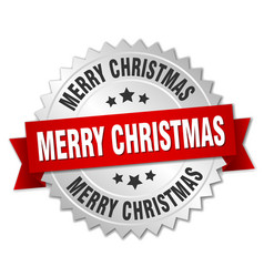 merry christmas 3d silver badge with red ribbon vector image