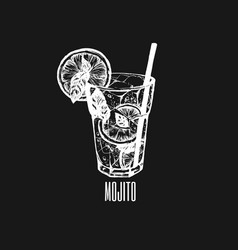 mojito glass isolated alcoholic cocktail hand vector image