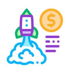 Monetary comet flight icon outline vector