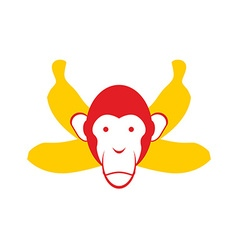 Monkey and bananas Chimpanzee head and crossed vector