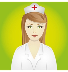 Nurse isolated on green background vector